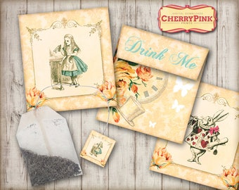 Alice in Wonderland tea bag envelope, printable tea party decoration, great for you Mad Hatter Tea party