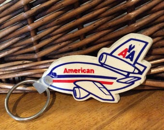 American Airlines rubber plane vintage keyring