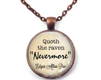 Edgar Allan Poe The Raven Nevermore Quote Necklace or Key Chain - Nevermore Necklace - Poe Jewellery - Poe Jewelry - Poe Raven Quote