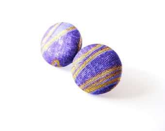 Fabric covered button earrings in purple and gold, Ghanian fabric