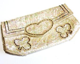 Vintage Beaded Sequin Beige Clutch, Heart Shamrock Design, Vintage Formal Prom Evening Bag, Bridal or Cocktail Purse itsyourcountry