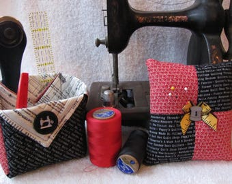 Thread Catcher Quilted Fabric Basket Red/Black Sewing Theme Fabric Sewing Machine Button Matching Pincushion Cute Thread Button Seamstress