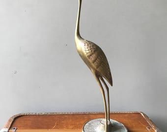 Solid Brass Standing Crane Heron Figurine Vintage Leonard Silver Mfg Co