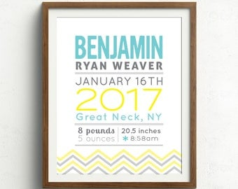 New baby gift personalized birth announcement wall art baby personalized baby gift chevron new baby gift birth print gift for baby personalized name nursery decor negle Image collections