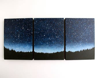 Night Sky Triptych Painting