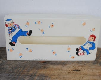 Vintage Raggedy Ann and Andy Tissue Box Holder The Bobbs Merrill Co
