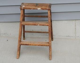 Vintage Wooden 3 Step Step Ladder Indoor or Outdoor Decor