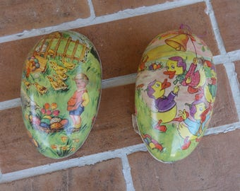 Vintage easter egg paper mache candy container ducks Germany holiday seasonal