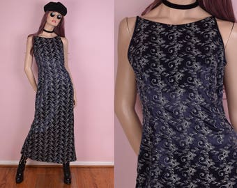90s Silver Floral Embroidered Blue Maxi Dress/ US 9-10/ 1990s