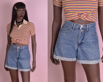 90s High Waisted Denim Shorts/ US 7/ 1990s