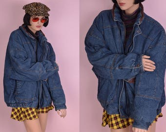 90s Faux Leather Trim Denim Jacket/ Men's 2X/ 1990s