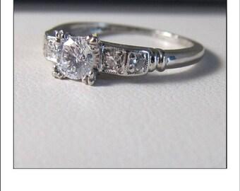 Antique Art Deco Platinum .50 Ct. Diamond Engagement Ring Inscribed  MLJ - GLC  8-4-47