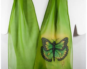 """Hand painted silk scarf. Butterfly Silk Scarf~8x52"""" chiffon~Green Silk Scarf~Hand painted silk scarf~Painted silk scarf~Butterfly silk scarf"""