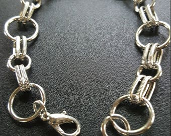8 inch silver bracelet with circles