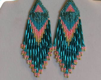 Native American Style Beaded Turquoise, Teal and Peach & Yellow Earring Southwestern, Boho, Hippie, Peyote, Brick Stitch Gift Ready to Ship