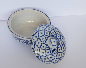 Asian Blue and White Stoneware Hand Painted Casserole Dish