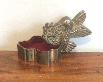 Vintage Metal Hummingbird Box / Bird Ring Box / Silver Trinket Box