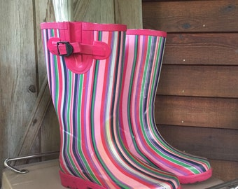 Ranger Rubber Rain Boots, Re-purposed Fresh Flower Vase, Spring Home Decor, Rain Showers