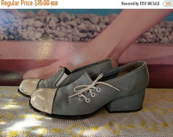 Summer Sale Size 5.5 B 1970s Soft Blue and White Chunky Heel Funky Mod Shoes Scooters are Cuter