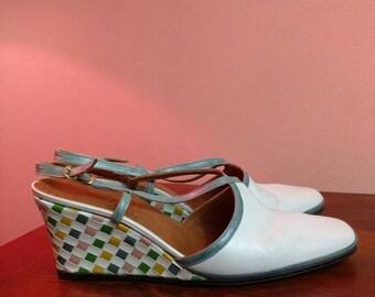 Summer Sale Size 7 N 1960s Mod Checkerboard Wedge Heels + Leather Woven Lattice+ by Rofina Ferragamo Schiavone 60s 70s