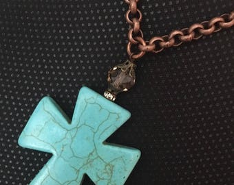 Turquoise Magnesite  Large Cross with Copper Rolo chain