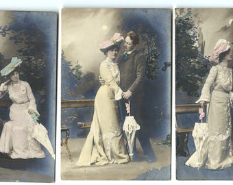 Lot of 3 - Vintage Set of Artist RPPC Real Photos Postcards Romance Beauty Fancy Umbrella Parasol Hand Colored Unused Paper Ephemera