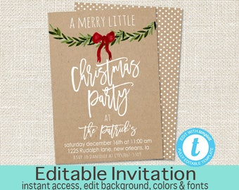 Christmas Party Invitation, Editable Christmas Party template, Merry little Christmas Invitation, Kraft, winter, templett, Instant Download