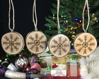 Yule Ornaments - Ægishjálmur Helm of Awe - Set of 4 - Yule Tree Decorations - Viking Yule - Yule Decorations - Asatru Ornaments