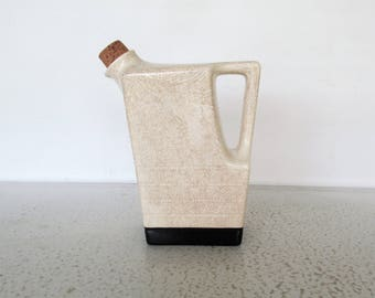 Pitcher Universal Cambridge Refrigerator Jug Pottery Square with Cork Stopper Crazing