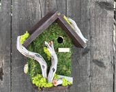 Moss Birdhouse Rustic Handmade with Driftwood, Wooden Bird House Functional for Birds, Item #545387062