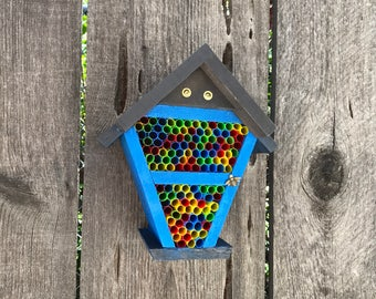 Mason Bee House, B Cozy Home For Pollinator Bugs, Handmade Straw Ladybug Bug Nest Box, Flower Pollination Garden Helper, Item #535552587