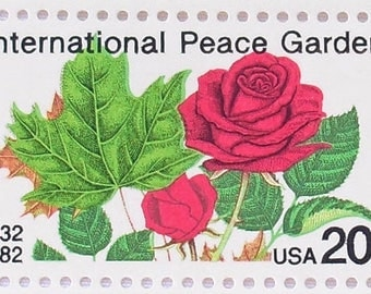 10 Unused Postage Stamps 1982 International Peace Garden Vintage Stamps For Mailing Invitations and Cards