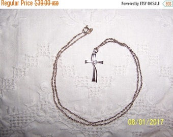 TWICE A YEAR, 25% Off Vintage Clear Cubic zirconia cross pendant with chain. Sterling silver.