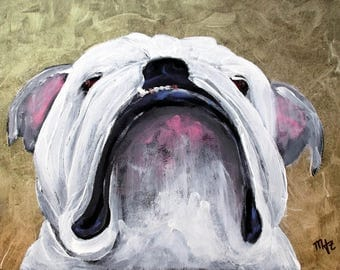 "English Bulldog Art Painting,""There's Something In The Air"",Bulldog Art,Dog Art,8 x 10,Framed,Signed Original Painting"