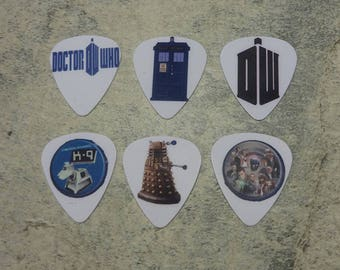 6 Dr Who single sided picture guitar picks