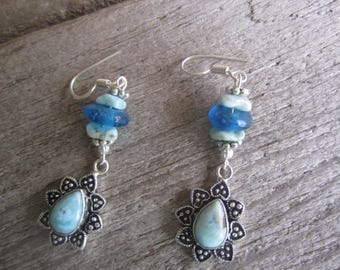 larimer and blue glass earring drops, beach jewelry, tropical earrings, resort elegance