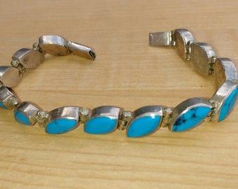 Vintage Mexican Silver Turquoise Bracelet 925 Sterling Silver Southwestern Women's Gift Teardrop Shapes