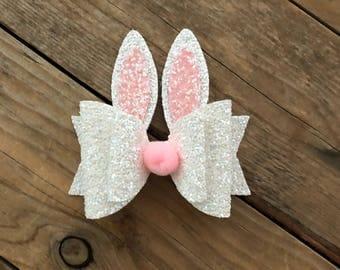 Girls Bunny Ear Hair Bow Baby Girl Headband Newborn Headbands Easter Bunny Headbands Glitter Hair Bows Photography Props Baby Nylon Headband