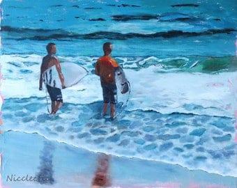 Boys surfing, surf board art, surfing, beach art, colorful surfboard painting, beach boys with surfboards, boys bedroom decor, surf art