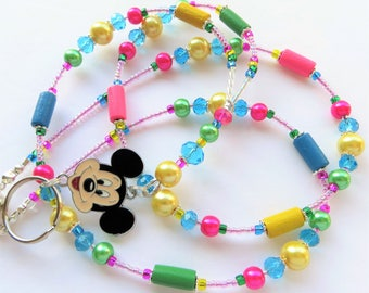 CHEERFUL MICKEY- Beaded Id Lanyard- Sparkling Crystals, Pearls, Wood Beads, and Mickey Mouse Charm (Magnetic Clasp)