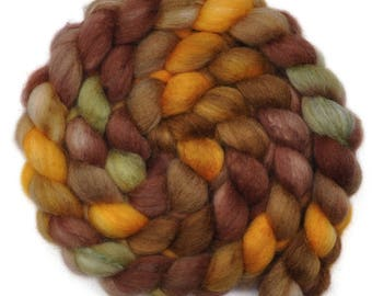 Hand painted roving - Silk / BFL wool 25/75% spinning fiber - 4.1 ounces - Rascal's Eye 1