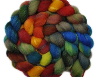 Hand painted combed top roving - Silk / Shetland wool 30/70% spinning fiber - 4.0 ounces - Party Tray 2