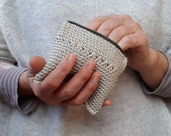 Pale green crochet coin purse
