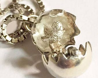 Sterling Silver Hatching Egg Charm Pendant with Sterling Silver Chain
