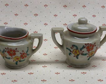 Occupied Japan miniature sugar bowl and creamer H Kato