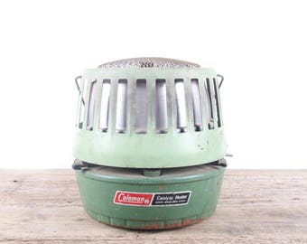 Vintage Coleman Catalytic Heater / Green Antique Outdoor Heater / Rustic Camping Gear / Old Outdoor Prop Decorations Decor