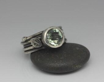 Green Amethyst Ring, Prasiolite Ring, Green Amethyst and Sterling Ring, Cushion Cut Gemstone, Rustic Chic, Size 7