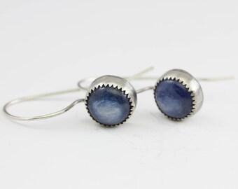 Kyanite & Sterling Earrings, Kyanite Drops, Blue Kyanite Earrings, Le Chien Noir, Artisan Earrings, Gift for Her