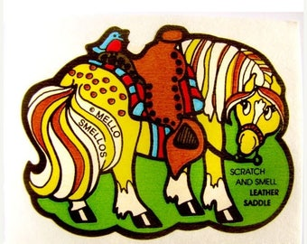 SALE Vintage Mello Smello Scratch and Sniff Horse and Leather Saddle Sticker 80's