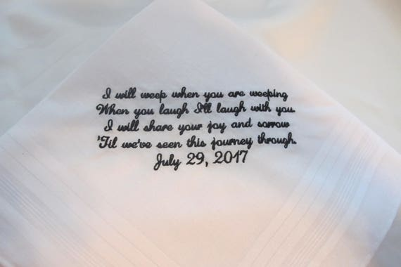 Wedding Handkerchief embroidered from the Bride to her Groom